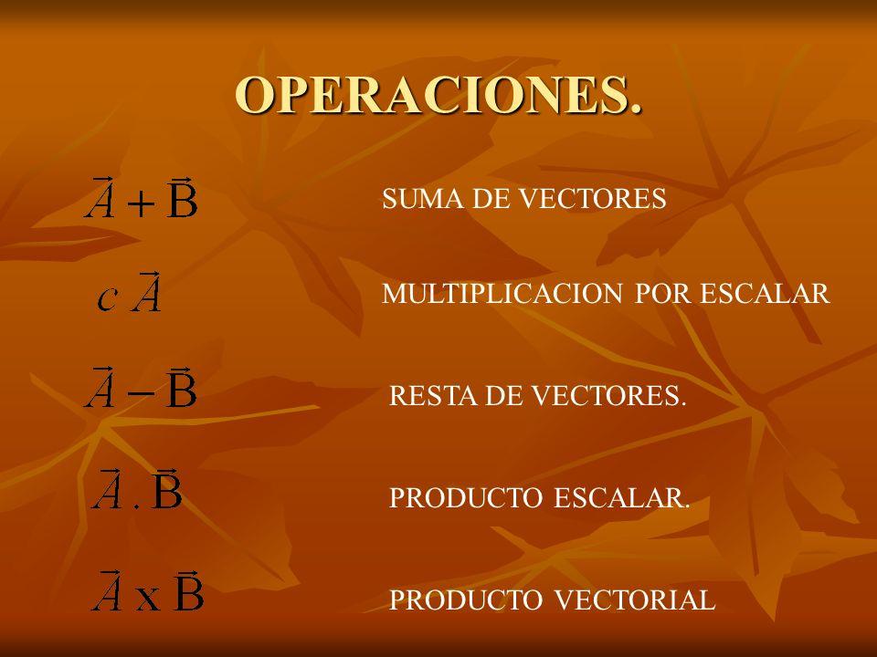 OPERACIONES. SUMA DE VECTORES MULTIPLICACION POR ESCALAR