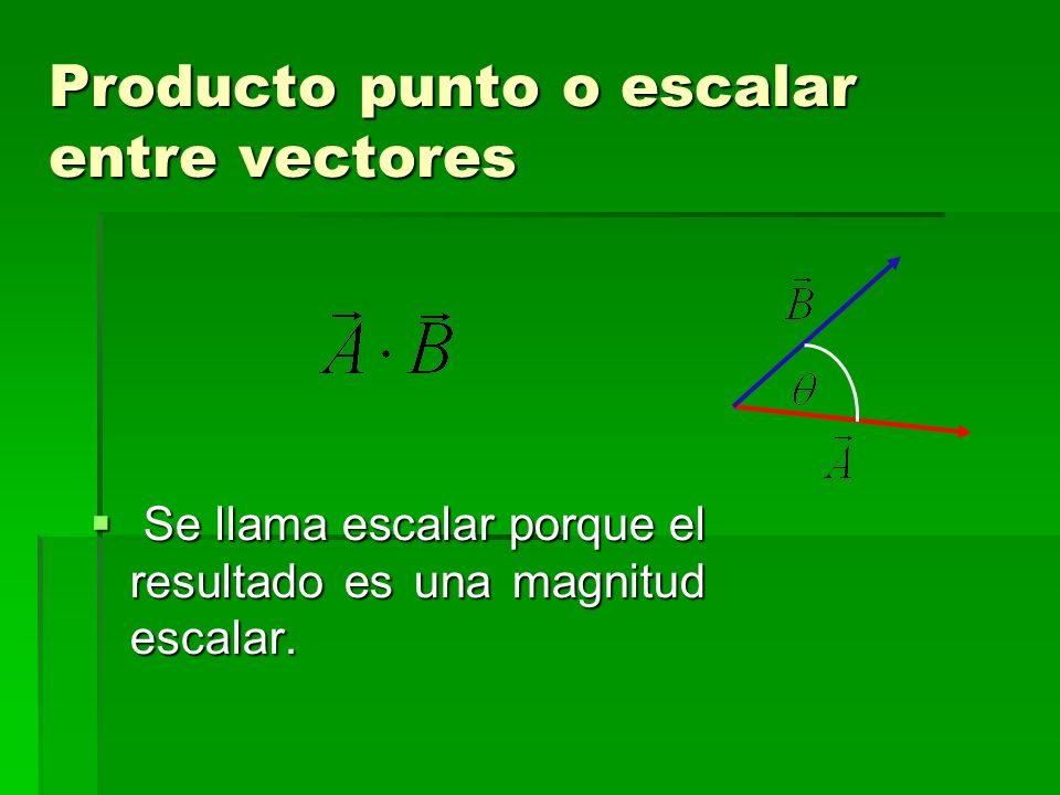 Producto punto o escalar entre vectores