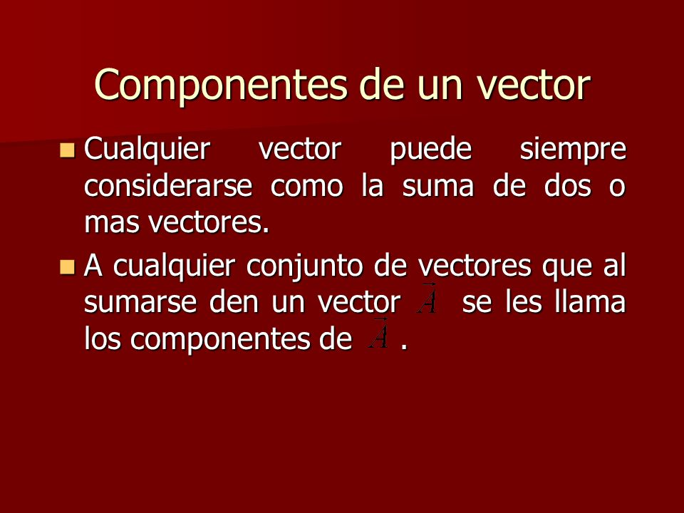Componentes de un vector