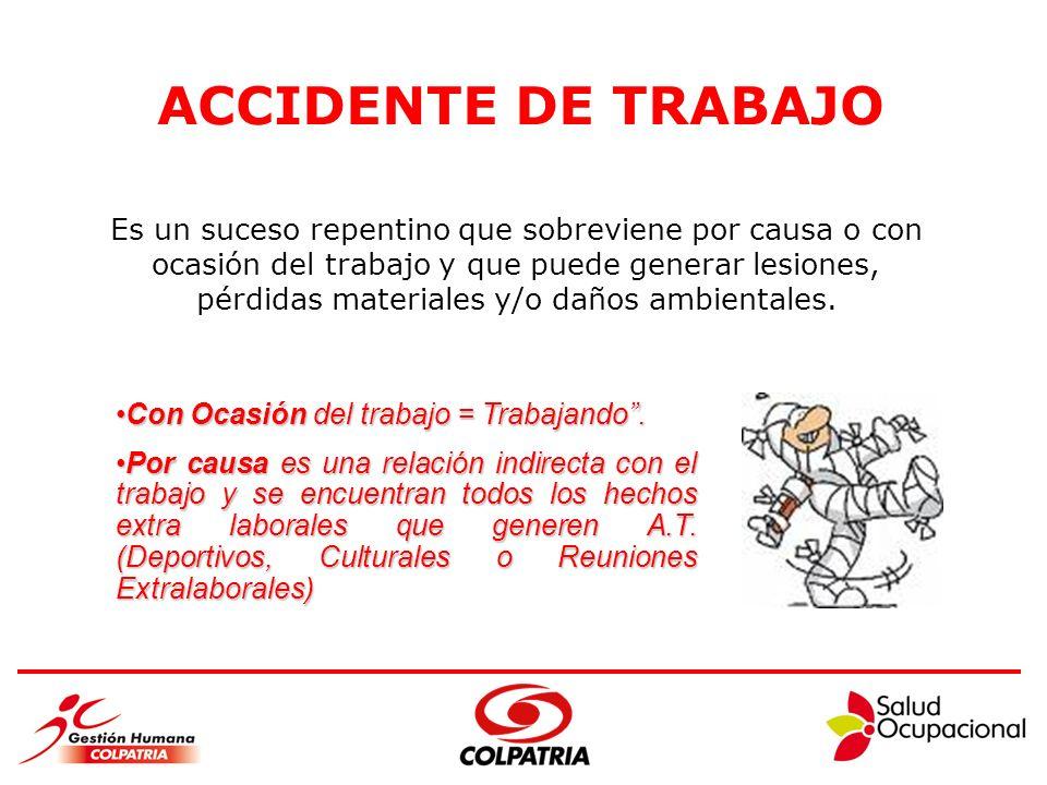 ACCIDENTE DE TRABAJO Es un suceso repentino que sobreviene por causa o con. ocasión del trabajo y que puede generar lesiones,