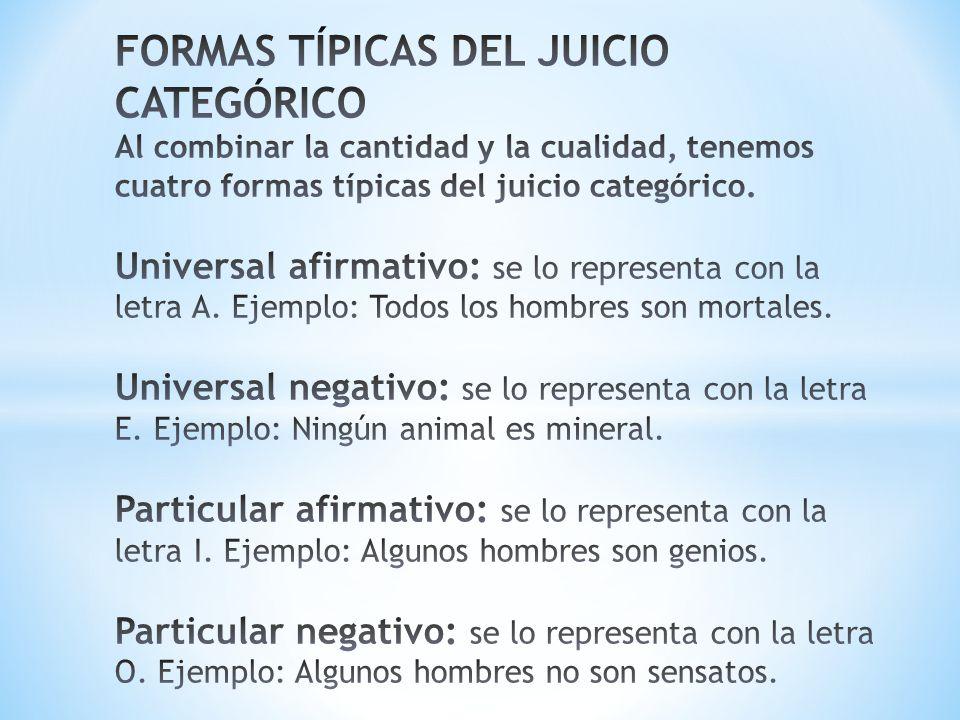 FORMAS TÍPICAS DEL JUICIO CATEGÓRICO Al combinar la cantidad y la cualidad, tenemos cuatro formas típicas del juicio categórico.