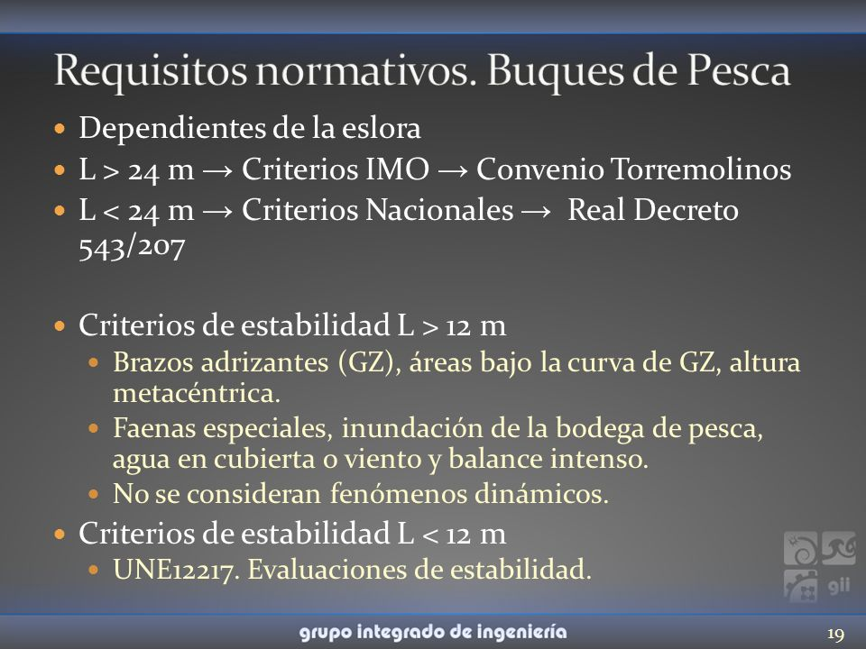 Requisitos normativos. Buques de Pesca