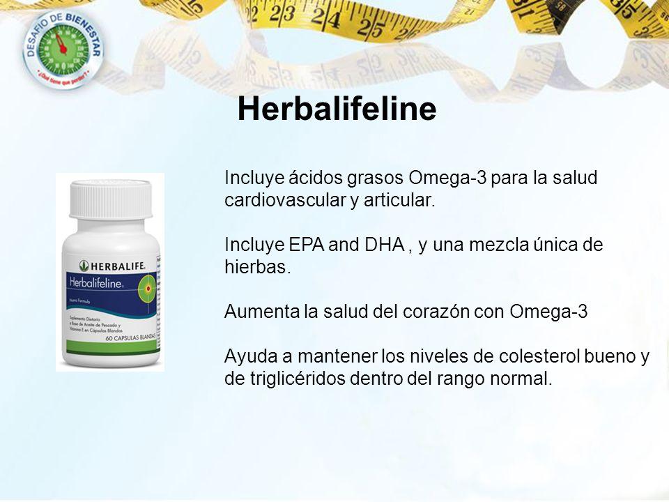 Herbalifeline Incluye ácidos grasos Omega-3 para la salud cardiovascular y articular. Incluye EPA and DHA , y una mezcla única de hierbas.