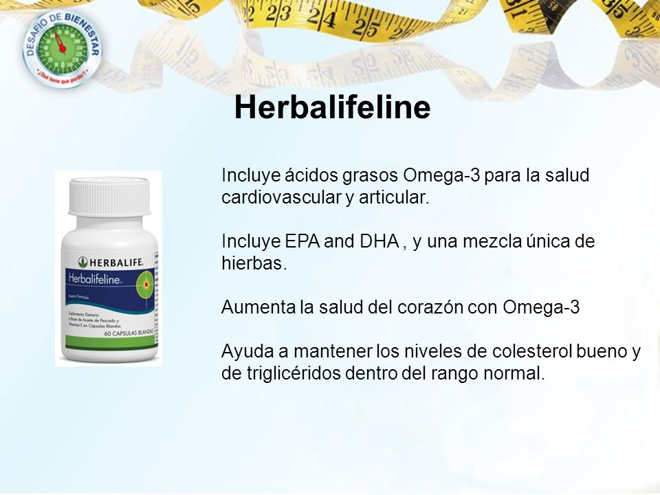 HerbalifelineIncluye ácidos grasos Omega-3 para la salud cardiovascular y articular. Incluye EPA and DHA , y una mezcla única de hierbas.