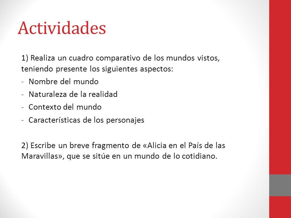 Actividades 1) Realiza un cuadro comparativo de los mundos vistos, teniendo presente los siguientes aspectos: