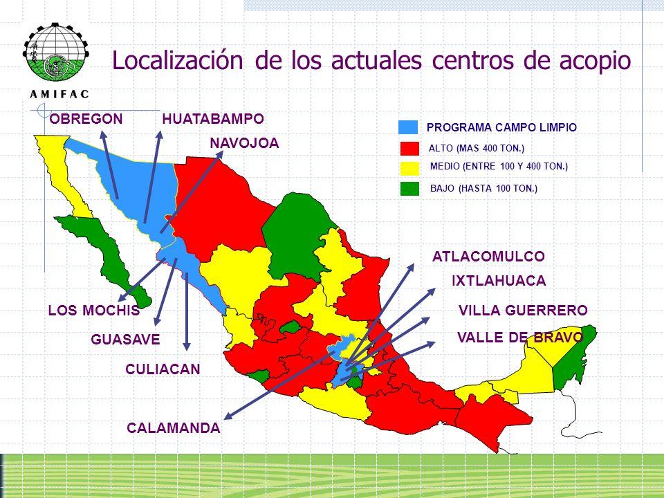 Localización de los actuales centros de acopio