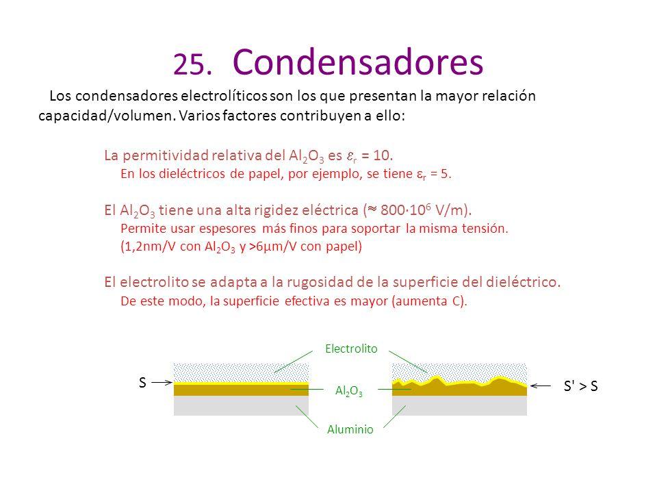 25. Condensadores Los condensadores electrolíticos son los que presentan la mayor relación capacidad/volumen. Varios factores contribuyen a ello: