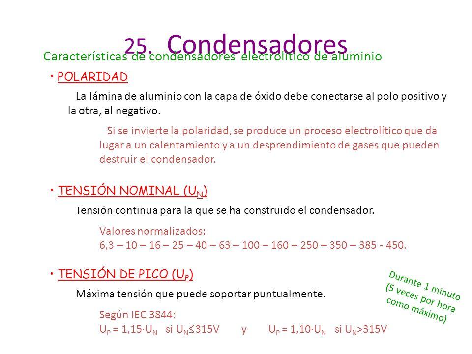 25. Condensadores Características de condensadores electrolítico de aluminio. POLARIDAD.