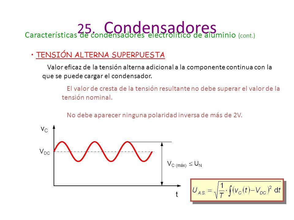 25. Condensadores Características de condensadores electrolítico de aluminio (cont.) TENSIÓN ALTERNA SUPERPUESTA.