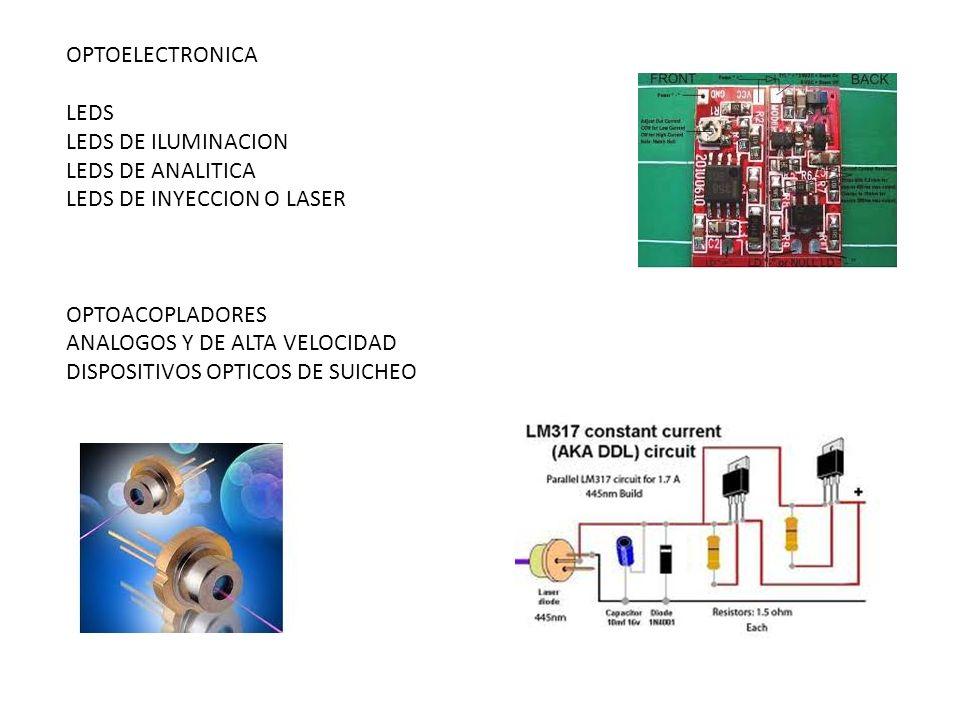 OPTOELECTRONICA LEDS. LEDS DE ILUMINACION. LEDS DE ANALITICA. LEDS DE INYECCION O LASER. OPTOACOPLADORES.