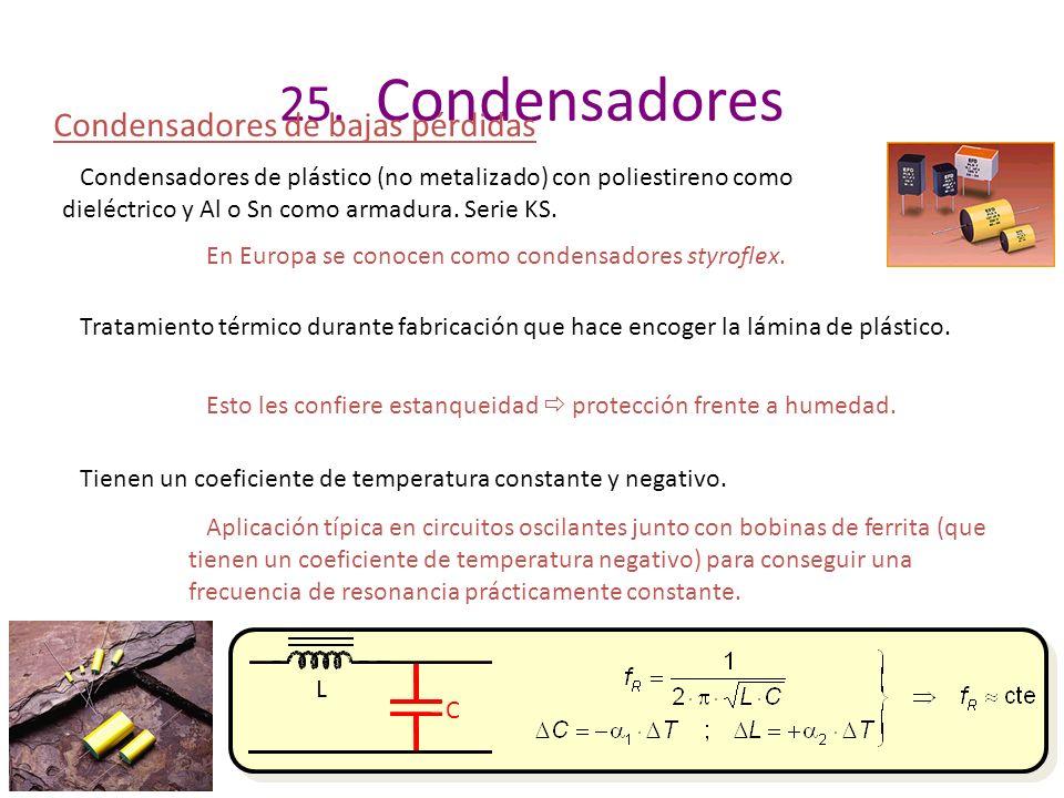 25. Condensadores Condensadores de bajas pérdidas