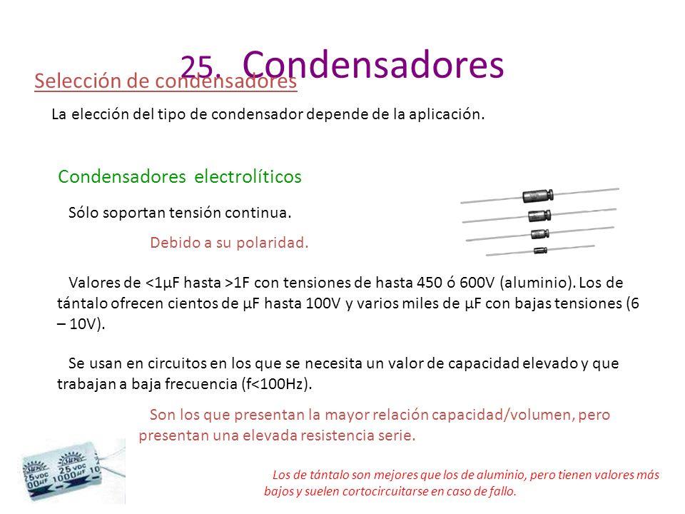 25. Condensadores Selección de condensadores
