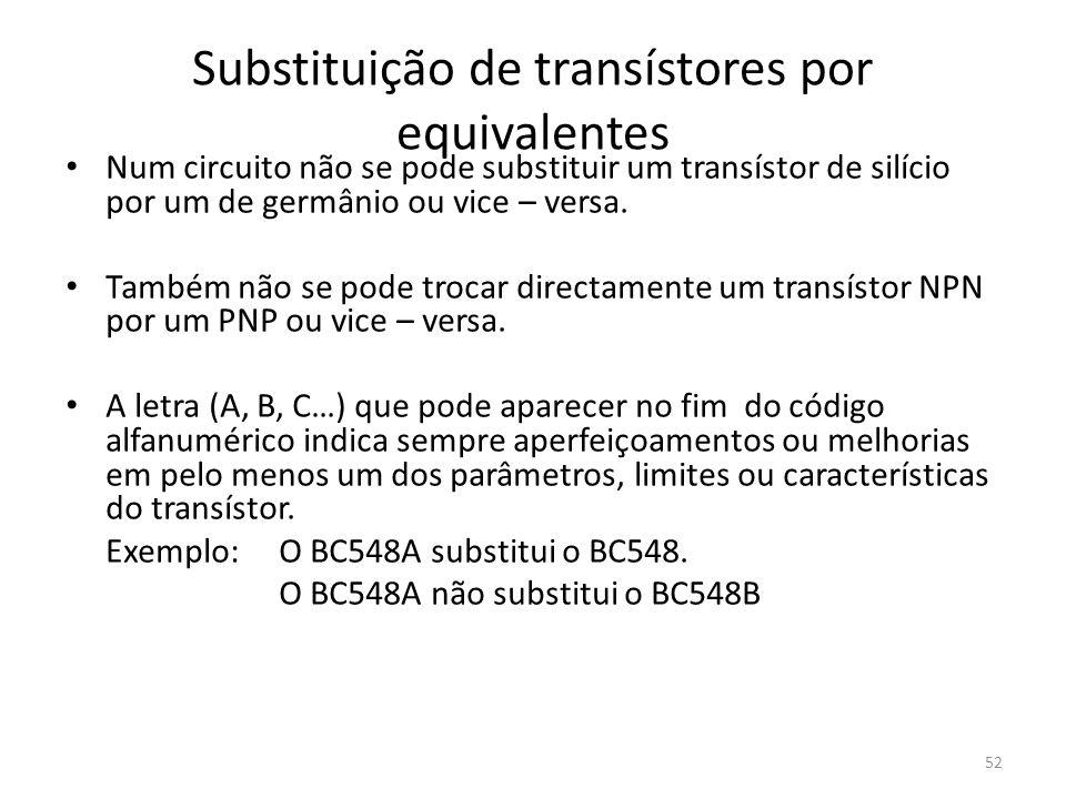 Substituição de transístores por equivalentes