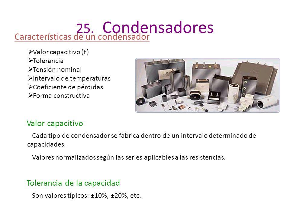 25. Condensadores Características de un condensador Valor capacitivo