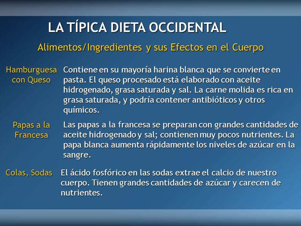 LA TÍPICA DIETA OCCIDENTAL