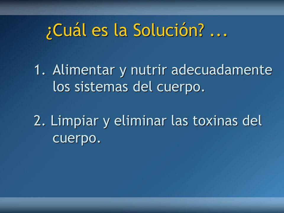 ¿Cuál es la Solución. ... Alimentar y nutrir adecuadamente los sistemas del cuerpo.