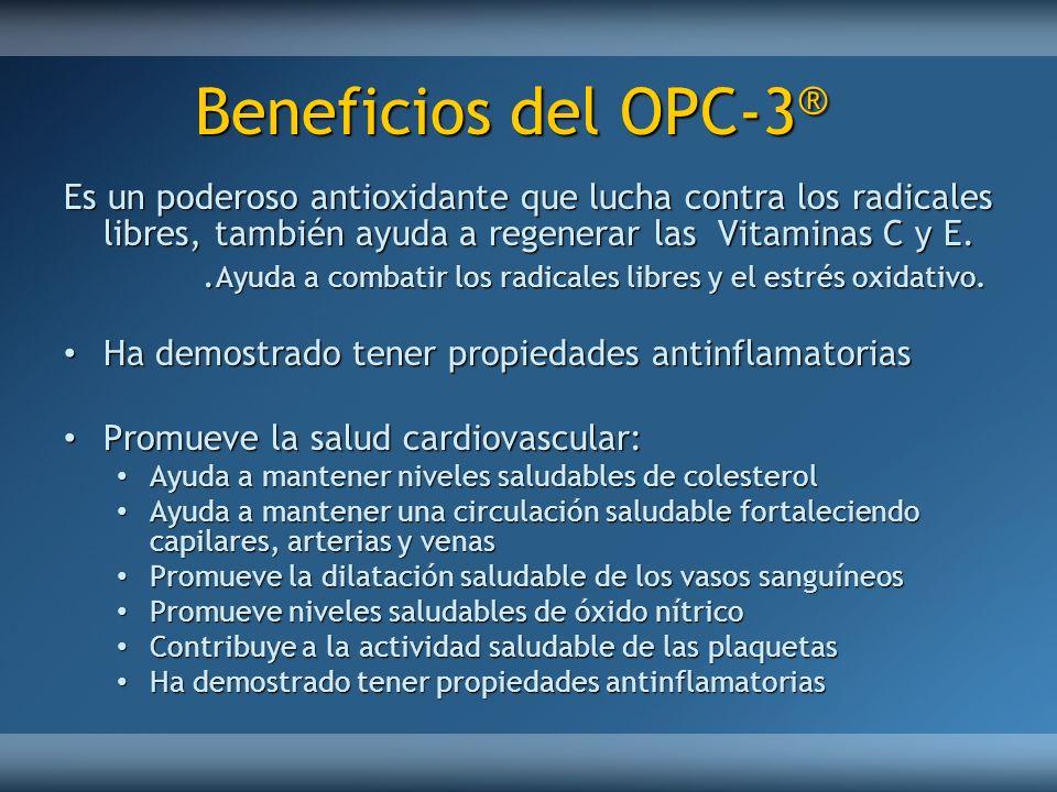 Beneficios del OPC-3® Es un poderoso antioxidante que lucha contra los radicales libres, también ayuda a regenerar las Vitaminas C y E.