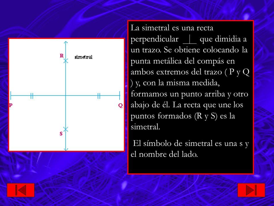 La simetral es una recta perpendicular que dimidia a un trazo