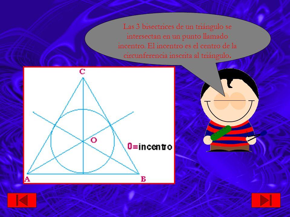 Las 3 bisectrices de un triángulo se intersectan en un punto llamado incentro.