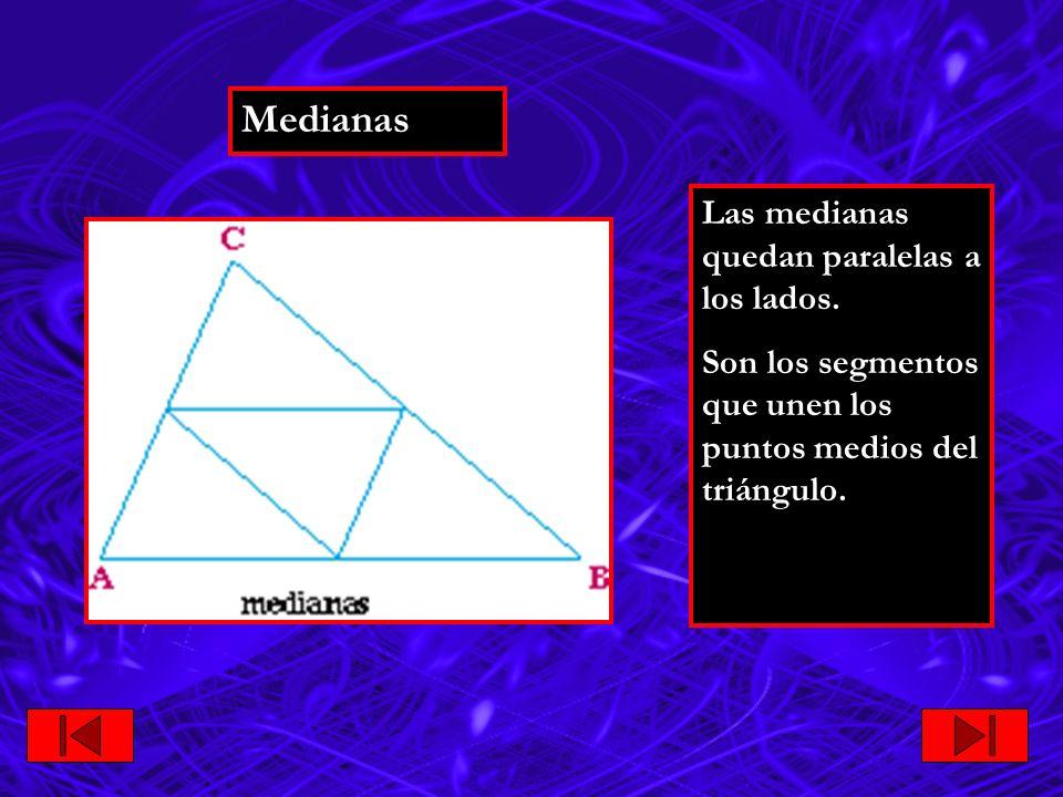 Medianas Las medianas quedan paralelas a los lados.