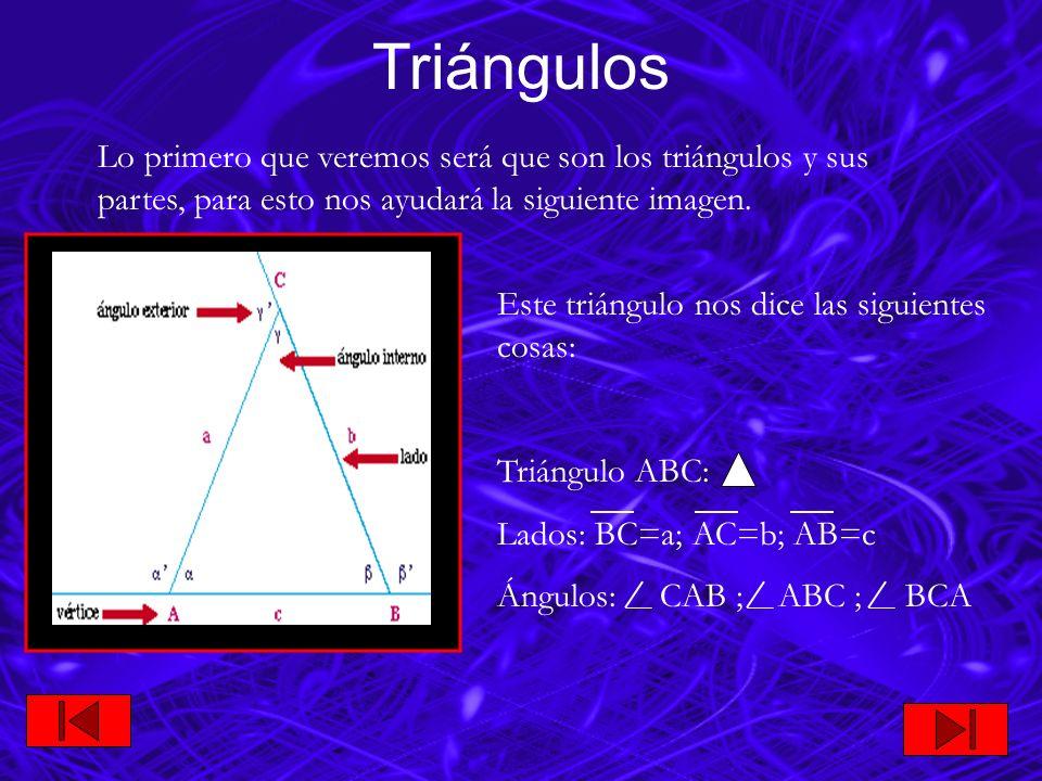 TriángulosLo primero que veremos será que son los triángulos y sus partes, para esto nos ayudará la siguiente imagen.
