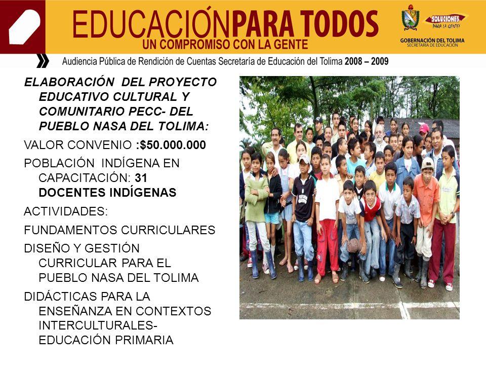 ELABORACIÓN DEL PROYECTO EDUCATIVO CULTURAL Y COMUNITARIO PECC- DEL PUEBLO NASA DEL TOLIMA: