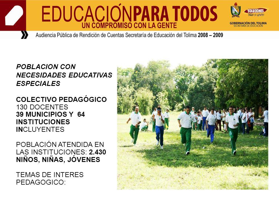 POBLACION CON NECESIDADES EDUCATIVAS ESPECIALES