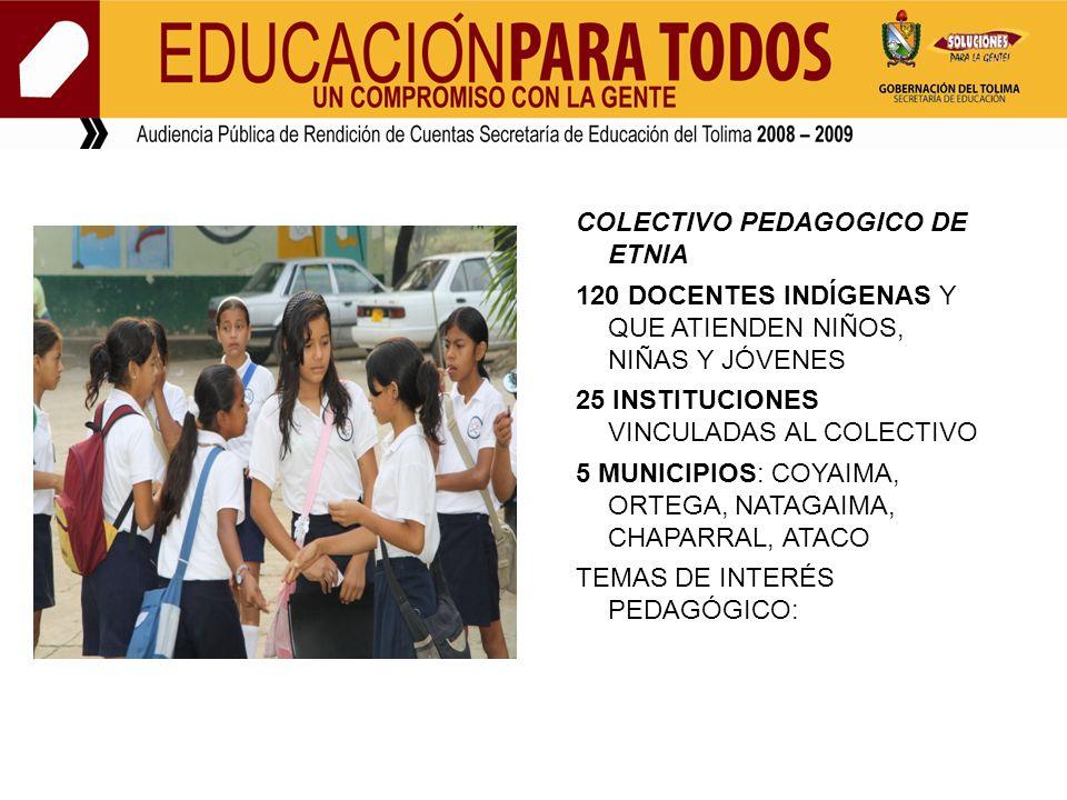 COLECTIVO PEDAGOGICO DE ETNIA 120 DOCENTES INDÍGENAS Y QUE ATIENDEN NIÑOS, NIÑAS Y JÓVENES 25 INSTITUCIONES VINCULADAS AL COLECTIVO 5 MUNICIPIOS: COYAIMA, ORTEGA, NATAGAIMA, CHAPARRAL, ATACO TEMAS DE INTERÉS PEDAGÓGICO: