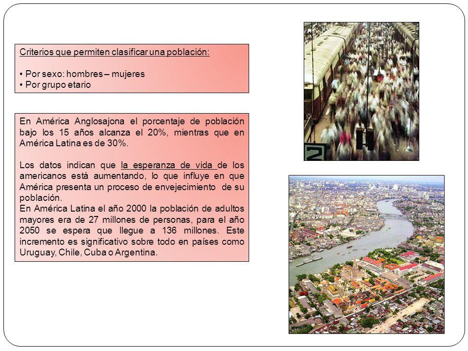 Criterios que permiten clasificar una población: