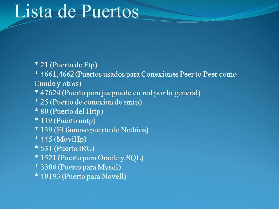 Lista de Puertos