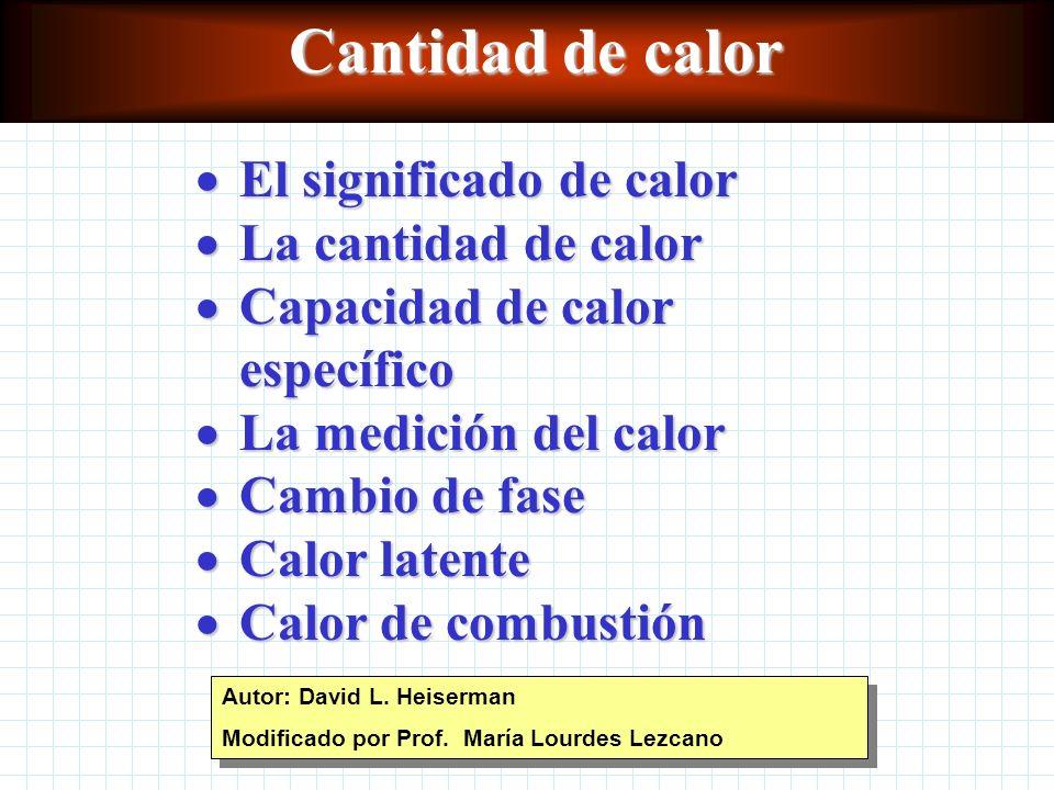 Cantidad de calor El significado de calor La cantidad de calor