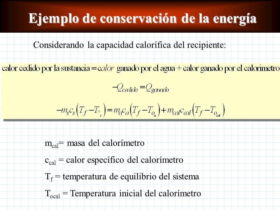 Ejemplo de conservación de la energía