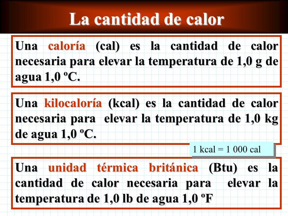 La cantidad de calor Una caloría (cal) es la cantidad de calor necesaria para elevar la temperatura de 1,0 g de agua 1,0 ºC.