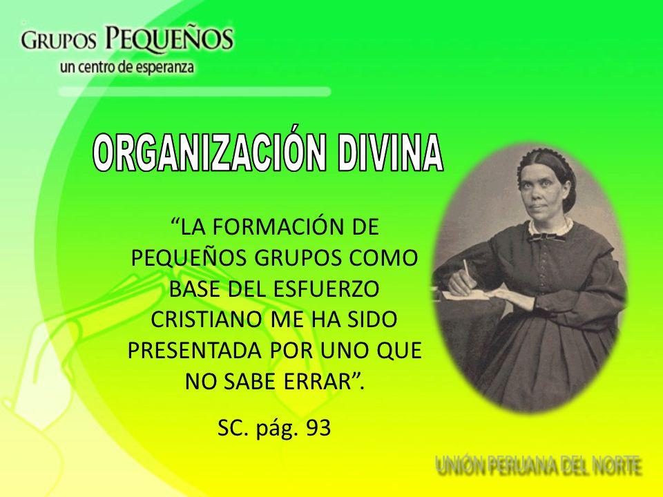ORGANIZACIÓN DIVINA LA FORMACIÓN DE PEQUEÑOS GRUPOS COMO BASE DEL ESFUERZO CRISTIANO ME HA SIDO PRESENTADA POR UNO QUE NO SABE ERRAR .