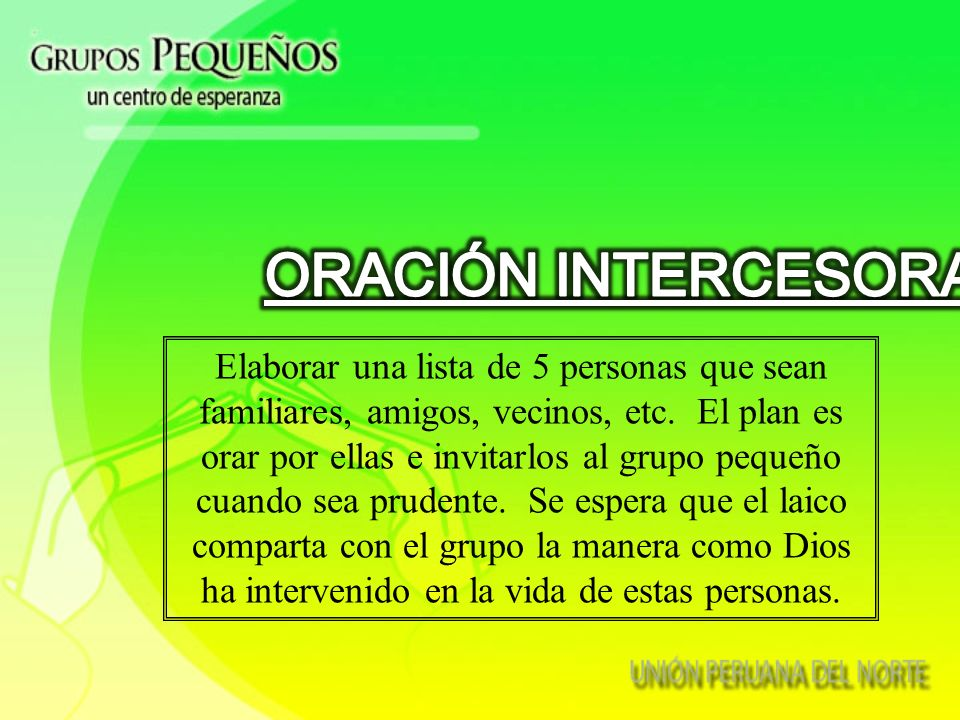 ORACIÓN INTERCESORA