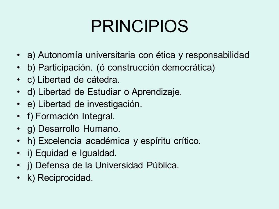 PRINCIPIOS a) Autonomía universitaria con ética y responsabilidad