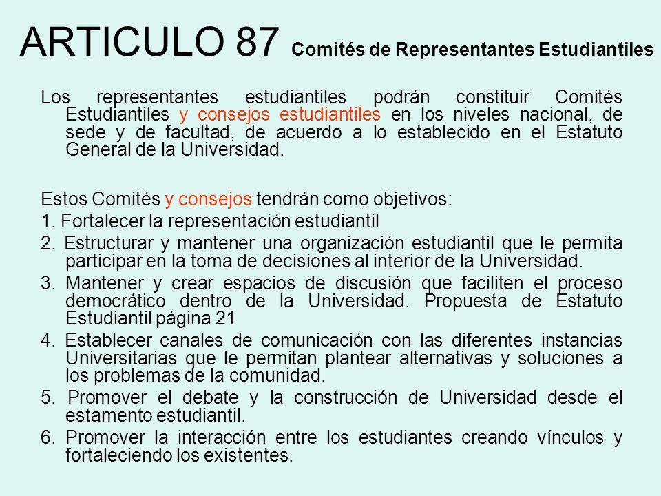 ARTICULO 87 Comités de Representantes Estudiantiles