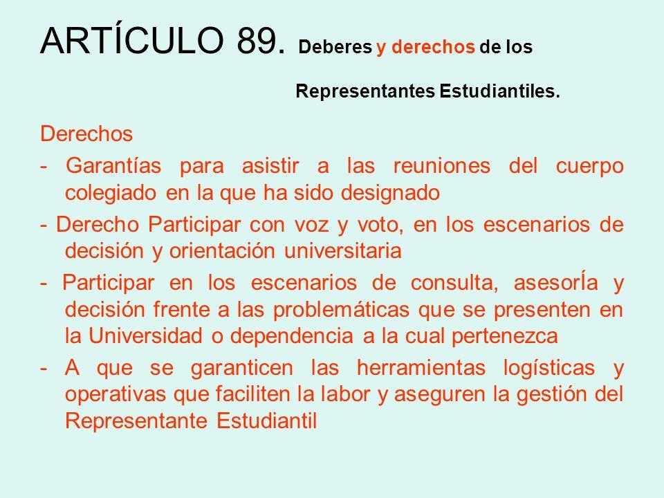 ARTÍCULO 89. Deberes y derechos de los Representantes Estudiantiles.