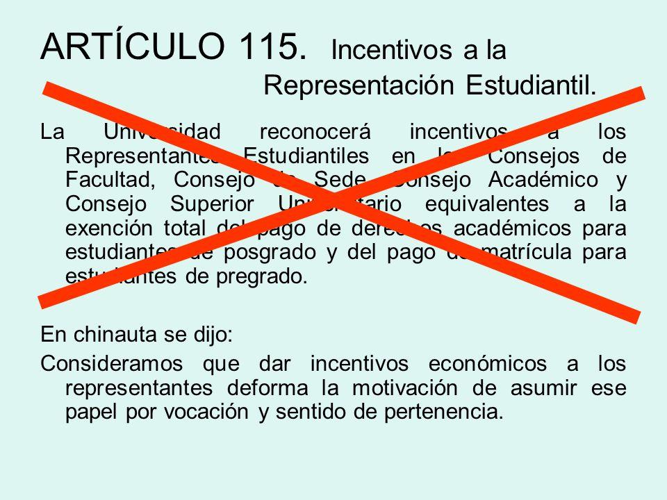 ARTÍCULO 115. Incentivos a la Representación Estudiantil.