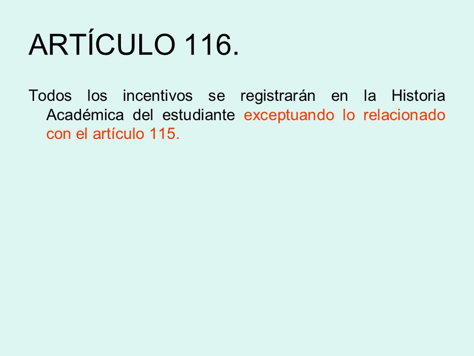 ARTÍCULO 116.