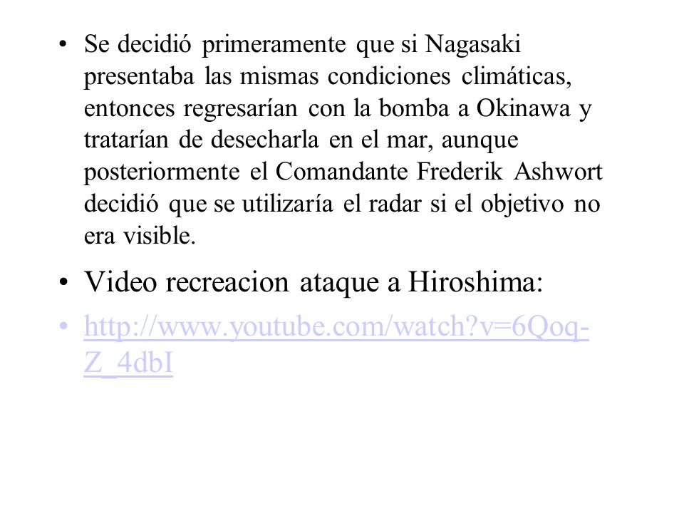 Video recreacion ataque a Hiroshima: