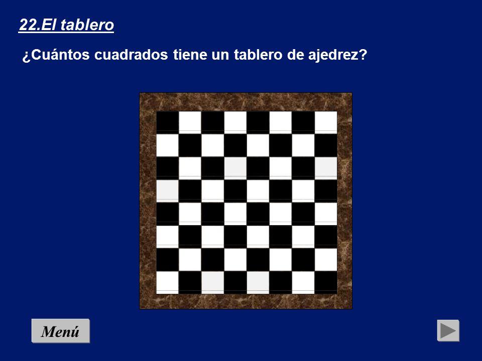 22.El tablero ¿Cuántos cuadrados tiene un tablero de ajedrez Menú