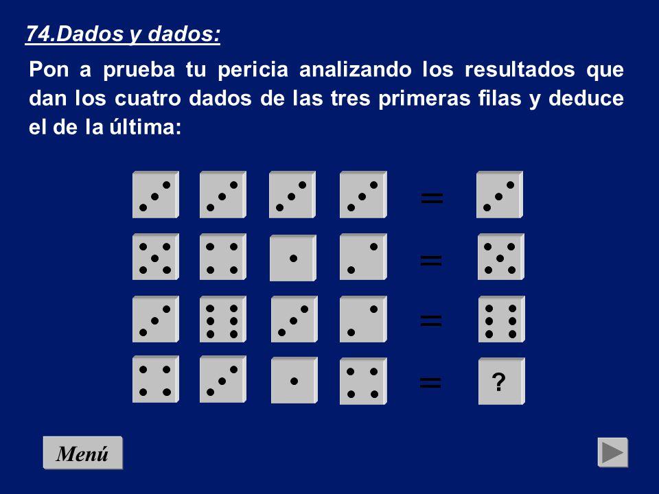 74.Dados y dados: Pon a prueba tu pericia analizando los resultados que dan los cuatro dados de las tres primeras filas y deduce el de la última: