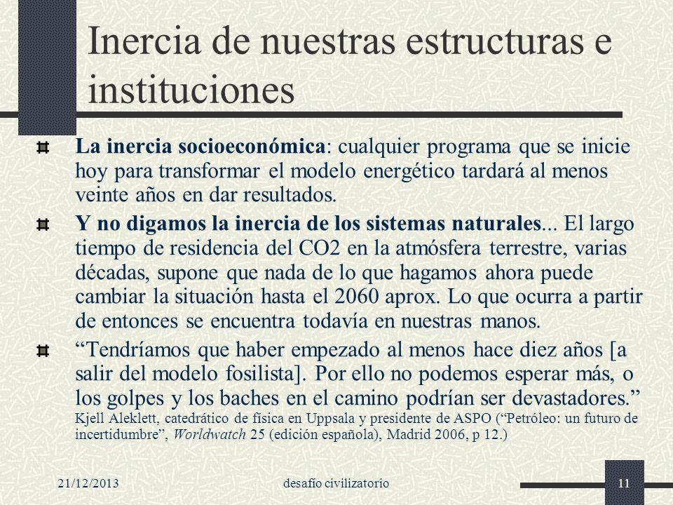 Inercia de nuestras estructuras e instituciones