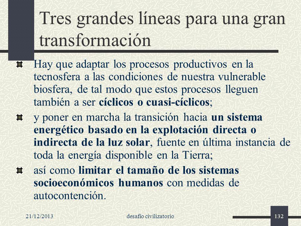 Tres grandes líneas para una gran transformación