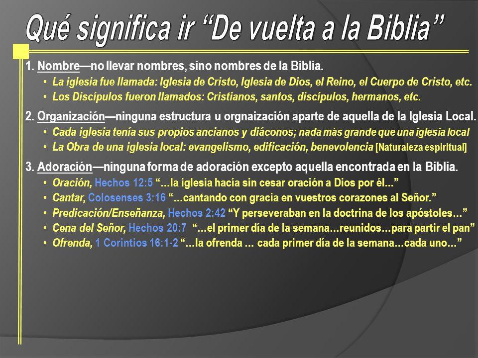 Qué significa ir De vuelta a la Biblia