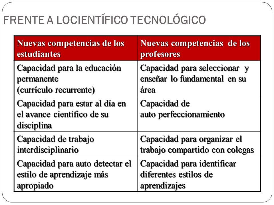 FRENTE A LOCIENTÍFICO TECNOLÓGICO
