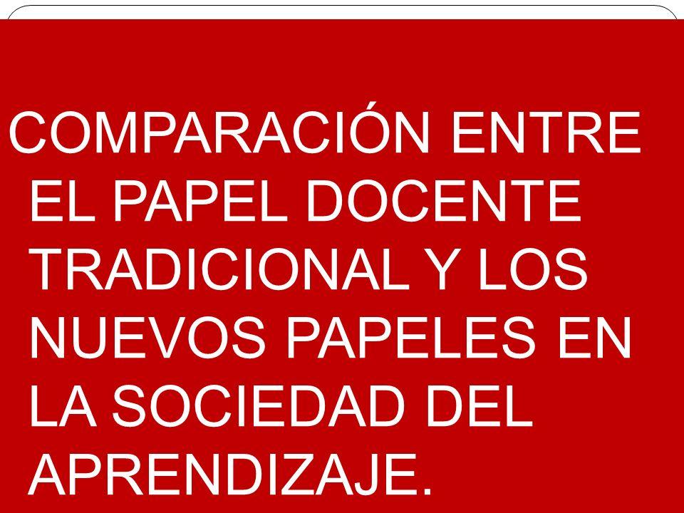 COMPARACIÓN ENTRE EL PAPEL DOCENTE TRADICIONAL Y LOS NUEVOS PAPELES EN LA SOCIEDAD DEL APRENDIZAJE.