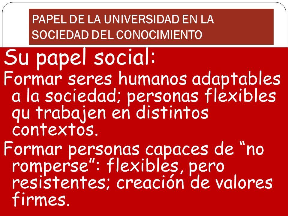 PAPEL DE LA UNIVERSIDAD EN LA SOCIEDAD DEL CONOCIMIENTO