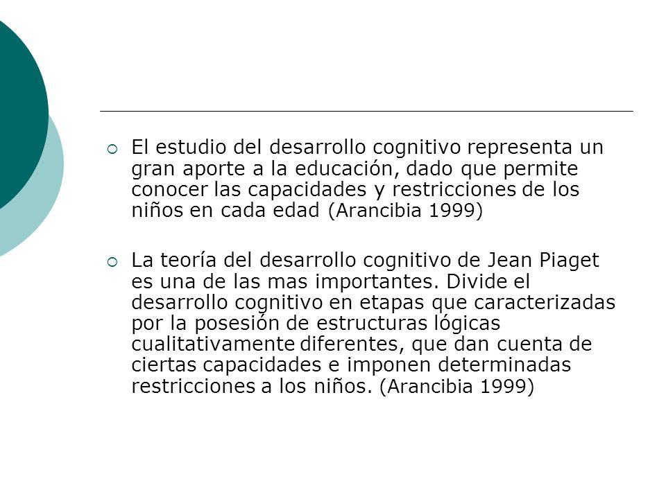El estudio del desarrollo cognitivo representa un gran aporte a la educación, dado que permite conocer las capacidades y restricciones de los niños en cada edad (Arancibia 1999)